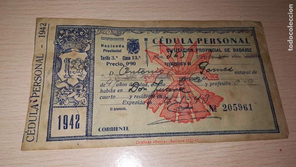 ANTIGUA CEDULA PERSONAL, ESTADO ESPAÑOL, BADAJOZ,AÑO 1942 (Coleccionismo - Documentos - Otros documentos)