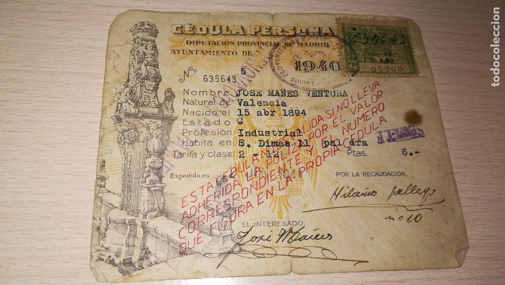 ANTIGUA CEDULA PERSONAL, ESTADO ESPAÑOL, MADRID,AÑO 1940 (Coleccionismo - Documentos - Otros documentos)