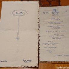 Documentos antiguos: VALLADOLID, HOTEL INGLATERRA. MENÚS. AÑOS 30-40.. Lote 194153652