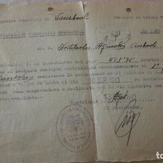 Documentos antigos: ANTIGUO RECIBO.RECAUDACION VOLUNTARIA ACCIDENTAL.VIMBODI.MONTBLANCH.TARRAGONA 1943. Lote 194180981