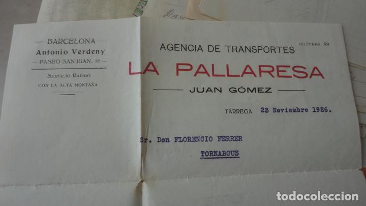 Documentos antiguos: ANTIGUA CARTA Y RECIBO PAGO.AGENCIA TRANSPORTES.LA PALLARESA.JUAN.GOMEZ.TARREGA 1926 - Foto 2 - 194234082