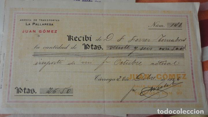 Documentos antiguos: ANTIGUA CARTA Y RECIBO PAGO.AGENCIA TRANSPORTES.LA PALLARESA.JUAN.GOMEZ.TARREGA 1926 - Foto 4 - 194234082