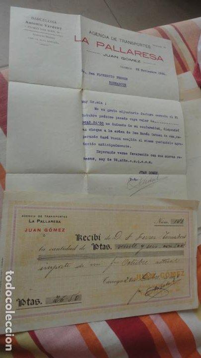 ANTIGUA CARTA Y RECIBO PAGO.AGENCIA TRANSPORTES.LA PALLARESA.JUAN.GOMEZ.TARREGA 1926 (Coleccionismo - Documentos - Otros documentos)