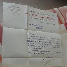 Documentos antiguos: ANTIGUA CARTA Y RECIBO PAGO.AGENCIA TRANSPORTES.LA PALLARESA.JUAN.GOMEZ.TARREGA 1926. Lote 194234082