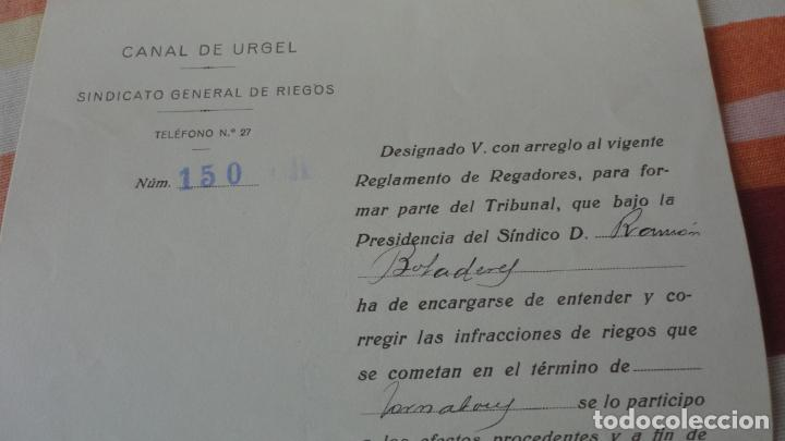 Documentos antiguos: ANTIGUA CARTA.CANAL DE URGEL.SINDICATO DE RIEGOS.FLORENCIO FERRER FERRER. MOLLERUSA 1927 - Foto 2 - 194235661