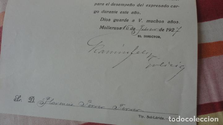 Documentos antiguos: ANTIGUA CARTA.CANAL DE URGEL.SINDICATO DE RIEGOS.FLORENCIO FERRER FERRER. MOLLERUSA 1927 - Foto 3 - 194235661
