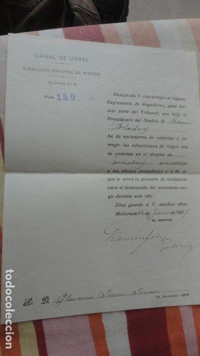 ANTIGUA CARTA.CANAL DE URGEL.SINDICATO DE RIEGOS.FLORENCIO FERRER FERRER. MOLLERUSA 1927 (Coleccionismo - Documentos - Otros documentos)
