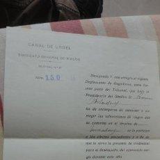 Documentos antiguos: ANTIGUA CARTA.CANAL DE URGEL.SINDICATO DE RIEGOS.FLORENCIO FERRER FERRER. MOLLERUSA 1927. Lote 194235661