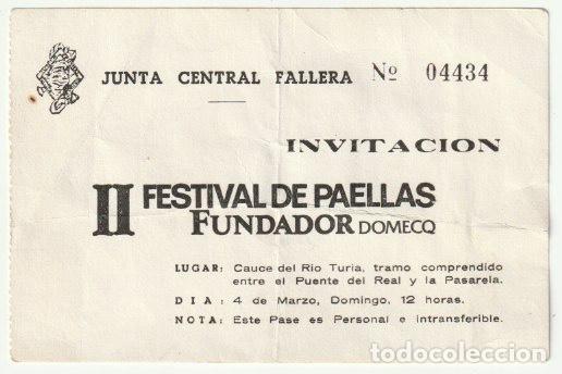 INVITACION II FESTIVAL DE PAELLAS JUNTA CENTRAL FALLERA EN EL CAUCE DEL RIO TURIA VALENCIA - -R-8 (Coleccionismo - Documentos - Otros documentos)