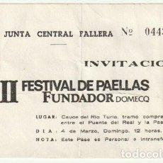 Documentos antiguos: INVITACION II FESTIVAL DE PAELLAS JUNTA CENTRAL FALLERA EN EL CAUCE DEL RIO TURIA VALENCIA - -R-8. Lote 194237382