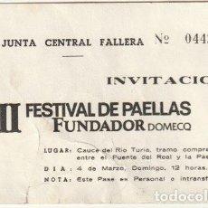 Documentos antiguos: INVITACION II FESTIVAL DE PAELLAS JUNTA CENTRAL FALLERA EN EL CAUCE DEL RIO TURIA VALENCIA - -R-8. Lote 194237438