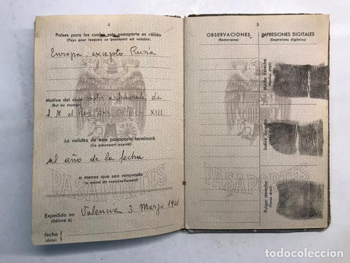 Documentos antiguos: PASAPORTE ESPAÑOL, Concedido para asistir a los Funerales de S.M. el Rey Don ALFONSO XIII (a.1941) - Foto 4 - 194238805