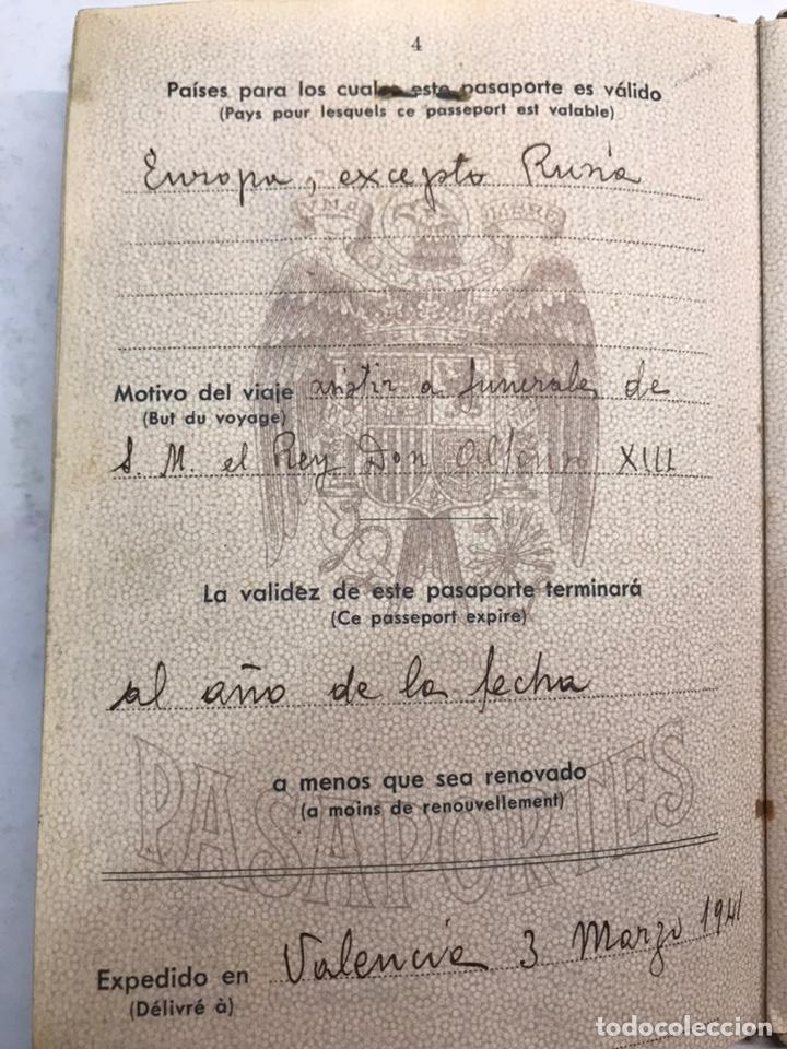 Documentos antiguos: PASAPORTE ESPAÑOL, Concedido para asistir a los Funerales de S.M. el Rey Don ALFONSO XIII (a.1941) - Foto 5 - 194238805