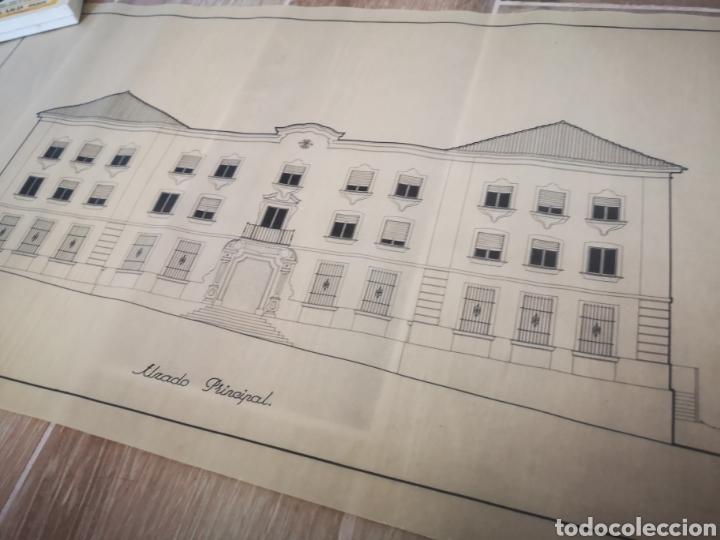 Documentos antiguos: PROYECTO EDIFICIO FET Y LAS JONS, HUELVA, 1945, PLANO ARQUITECTO, FALANGE - Foto 2 - 194284003