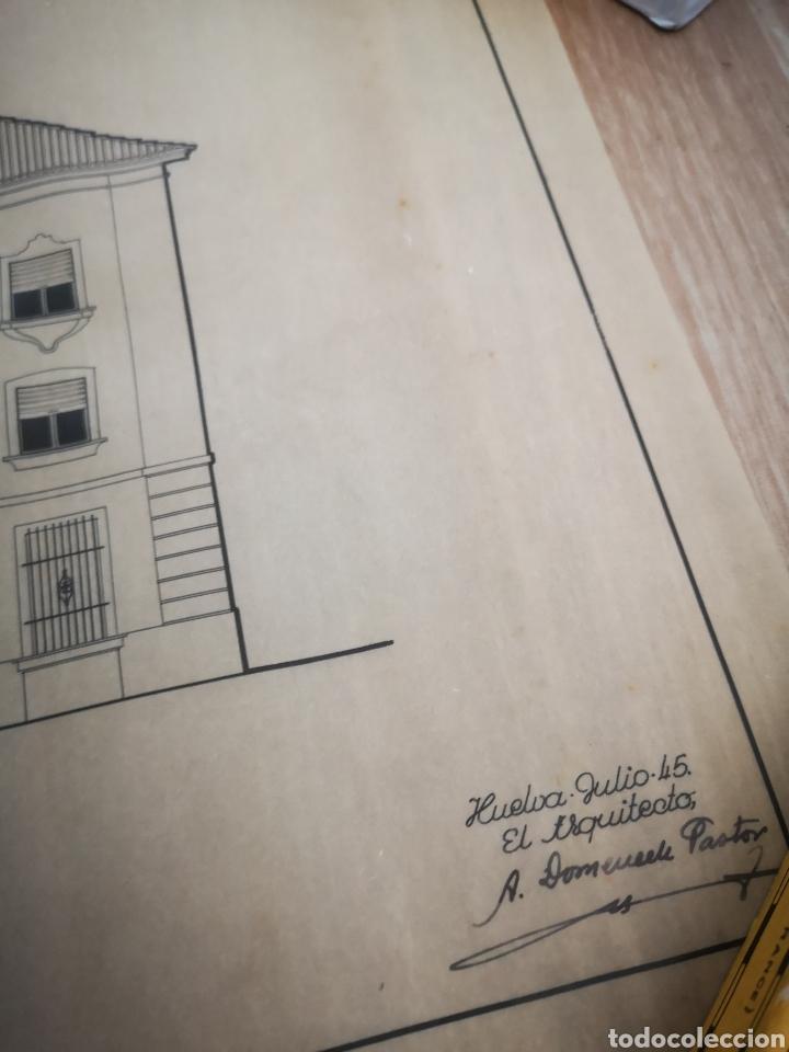 Documentos antiguos: PROYECTO EDIFICIO FET Y LAS JONS, HUELVA, 1945, PLANO ARQUITECTO, FALANGE - Foto 3 - 194284003