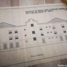 Documentos antiguos: PROYECTO EDIFICIO FET Y LAS JONS, HUELVA, 1945, PLANO ARQUITECTO, FALANGE. Lote 194284003