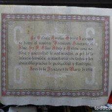 Documentos antiguos: DOCUMENTO TIPO TITULO O DIPLOMA DE LA COLONIA ESCOLAR OBRERA JEREZANA 9 DE MARZO DE 1928. Lote 194297390