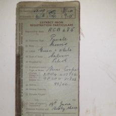 Documentos antiguos: DOCUMENTO ITV IRLANDA. Lote 194306365