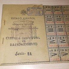 Documentos antiguos: ANTIGUA CARTILLA DE RACIONAMIENTO, BURGUILLOS DEL CERRO, BADAJOZ.AÑOS 40.EPOCA FRANQUISTA. Lote 194317381