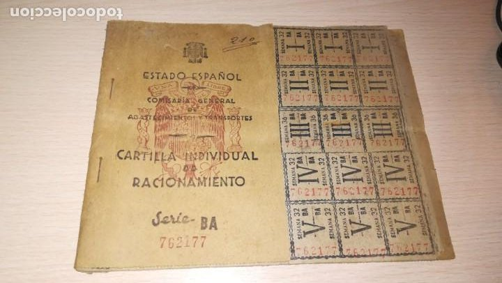 ANTIGUA CARTILLA DE RACIONAMIENTO, BURGUILLOS DEL CERRO, BADAJOZ.AÑO 1944.EPOCA FRANQUISTA (Coleccionismo - Documentos - Otros documentos)