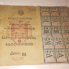 Documentos antiguos: ANTIGUA CARTILLA DE RACIONAMIENTO, BURGUILLOS DEL CERRO, BADAJOZ.AÑO 1944.EPOCA FRANQUISTA. Lote 194318301