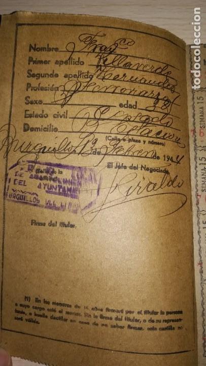 Documentos antiguos: ANTIGUA CARTILLA DE RACIONAMIENTO, BURGUILLOS DEL CERRO, BADAJOZ.AÑO 1944.EPOCA FRANQUISTA - Foto 2 - 194318301