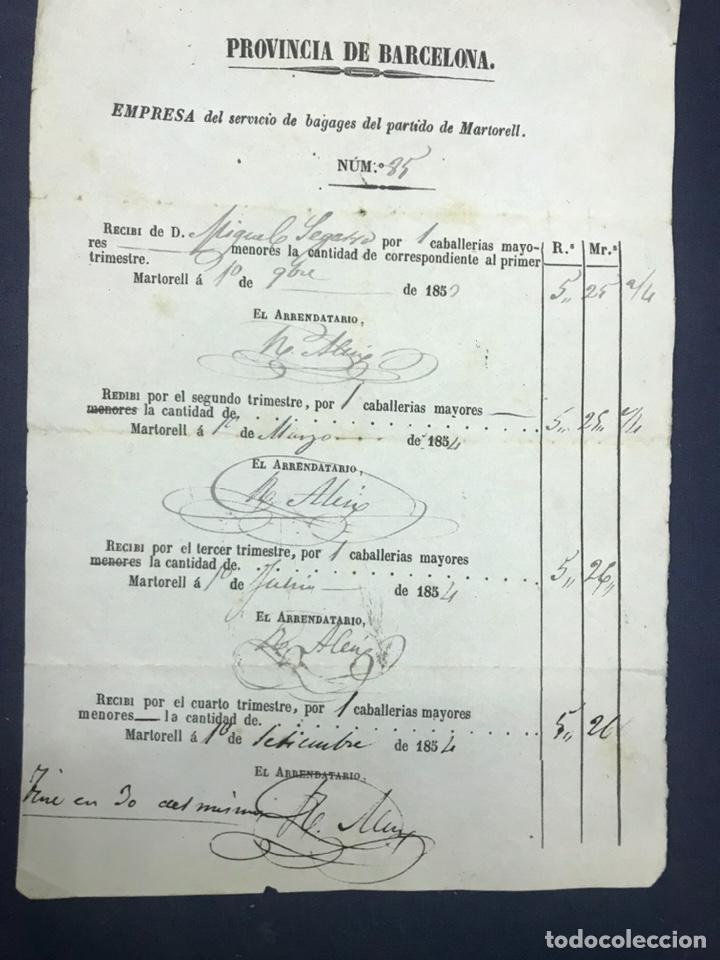 Documentos antiguos: RECIBO CABALLERÍAS MAYORES. MARTORELL 1854. EMPRESA DE SERVICIO DE BAGAGES, MARTORELL. BARCELONA. - Foto 2 - 194320173