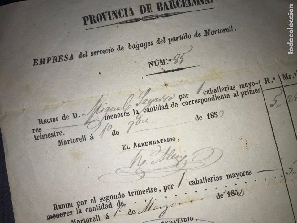 RECIBO CABALLERÍAS MAYORES. MARTORELL 1854. EMPRESA DE SERVICIO DE BAGAGES, MARTORELL. BARCELONA. (Coleccionismo - Documentos - Otros documentos)
