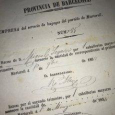 Documentos antiguos: RECIBO CABALLERÍAS MAYORES. MARTORELL 1854. EMPRESA DE SERVICIO DE BAGAGES, MARTORELL. BARCELONA.. Lote 194320173