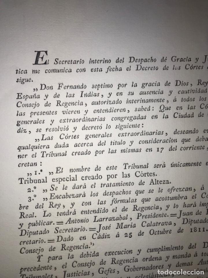 Documentos antiguos: CÁDIZ, 1811. GUERRA INDEPENDENCIA. TRATAMIENTO DEL TRIBUNAL CREADO. CONSEJO REGENCIA. - Foto 3 - 194321831