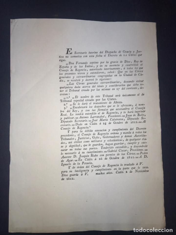 CÁDIZ, 1811. GUERRA INDEPENDENCIA. TRATAMIENTO DEL TRIBUNAL CREADO. CONSEJO REGENCIA. (Coleccionismo - Documentos - Otros documentos)