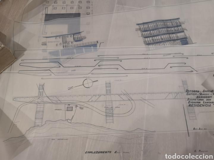 Documentos antiguos: Benidorm. Rincón de Loix. Residencia Lido, lote planos ampliación, 1960, arquitecto. - Foto 2 - 194340113