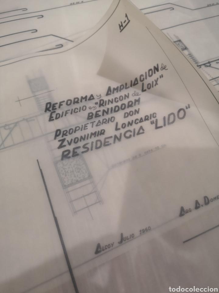 BENIDORM. RINCÓN DE LOIX. RESIDENCIA LIDO, LOTE PLANOS AMPLIACIÓN, 1960, ARQUITECTO. (Coleccionismo - Documentos - Otros documentos)