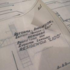 Documentos antiguos: BENIDORM. RINCÓN DE LOIX. RESIDENCIA LIDO, LOTE PLANOS AMPLIACIÓN, 1960, ARQUITECTO.. Lote 194340113