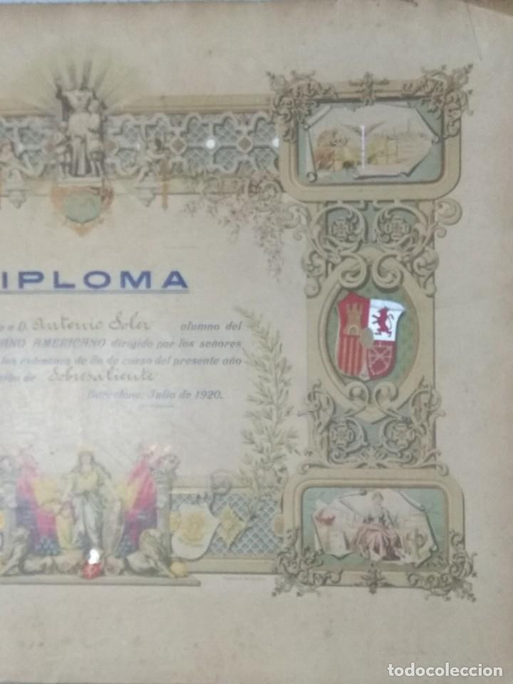 Documentos antiguos: DIPLOMA COLEGIO HISPANO AMERICANO AÑO 1920. - Foto 3 - 194346151