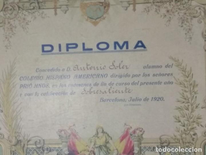 Documentos antiguos: DIPLOMA COLEGIO HISPANO AMERICANO AÑO 1920. - Foto 4 - 194346151