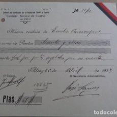 Documentos antiguos: ALCOY. ALICANTE. GUERRA CIVIL. CNT AIT. SINDICATO INDUSTRIA TEXTIL. RECIBO. 1937. Lote 194358920