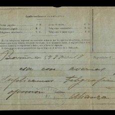 Documentos antiguos: L26-14 HISTORIA TELEGRAMAS RECIBO DE TELEGRAMA ENVIADO A ALIANZA ASEGURADORAS EL 1 DE MARZO DE 1892. Lote 194364115