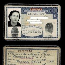 Documentos antiguos: C10-2 Nº 36.264.474 DIRECCION GENERAL DE SEGURIDAD CARNET DE IDENTIDAD EXPEDIDO EN BARCELONA EL 1. Lote 194365821