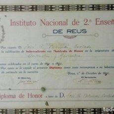 Documentos antiguos: DIPLOMA INSTITUTO NACIONAL REUS 1932 SR JOSE R VALLVERDU CORTADA ( FARMACIA CASTELL LABORATORIO KLAM. Lote 194381570