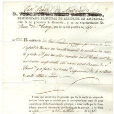 Documentos antiguos: RECIBO COMISIONADO DE ARBITRIOS DE GRANADA. LOJA, 21 DE JULIO DE 1841. Lote 194393935
