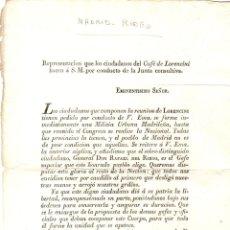 Documentos antiguos: CIRCULAR REPRESENTACION CIUDADANOS DEL CAFE DE LORENCINI SOLICITANDO UNA MILICIA URBANA. MADRID 1820. Lote 194394270