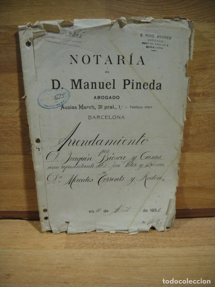 ESCRITURA DE ARRENDAMIENTO DE CASAS EN BADALONA - BARCELONA AÑO 1931 (Coleccionismo - Documentos - Otros documentos)