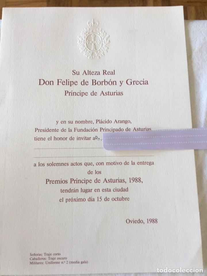Documentos antiguos: INVITACIÓN DE SU ALTEZA REAL DON FELIPE DE BORBON ALOS PREMIOS PRINCIPE DE ASTURIAS 1988 - Foto 6 - 194494507