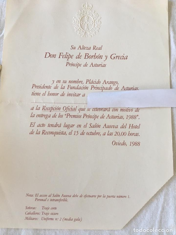 Documentos antiguos: INVITACIÓN DE SU ALTEZA REAL DON FELIPE DE BORBON ALOS PREMIOS PRINCIPE DE ASTURIAS 1988 - Foto 8 - 194494507