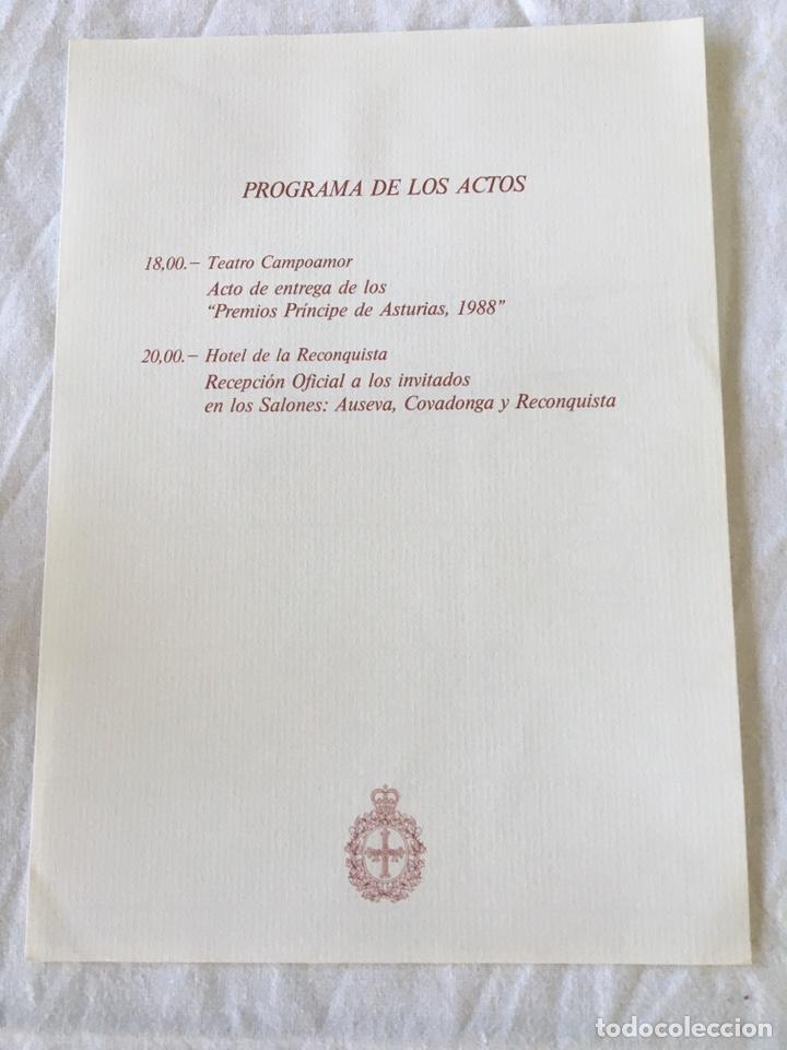 Documentos antiguos: INVITACIÓN DE SU ALTEZA REAL DON FELIPE DE BORBON ALOS PREMIOS PRINCIPE DE ASTURIAS 1988 - Foto 9 - 194494507
