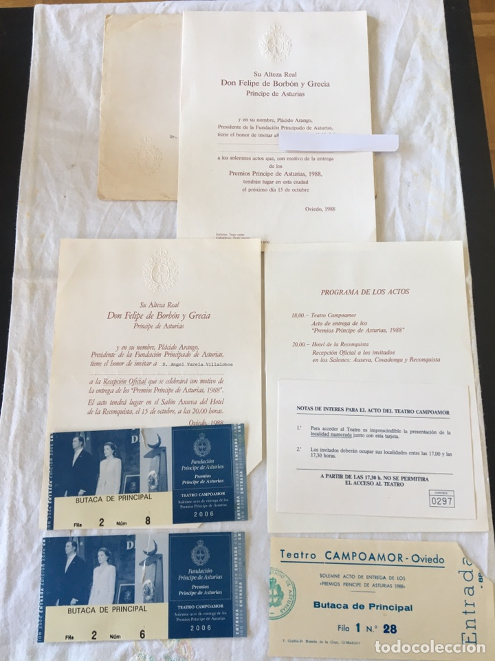 INVITACIÓN DE SU ALTEZA REAL DON FELIPE DE BORBON ALOS PREMIOS PRINCIPE DE ASTURIAS 1988 (Coleccionismo - Documentos - Otros documentos)