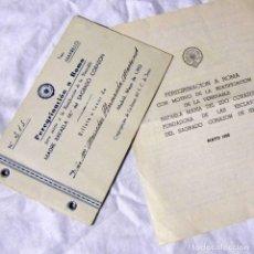 Documentos antiguos: PROGRAMA Y TALONARIO PEREGRINACIÓN A ROMA BEATIFICACIÓN RAFAELA Mª DEL SAGRADO CORAZÓN 1952. Lote 194516628