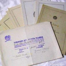 Documentos antiguos: 9 BOLETINES DE CALIFICACIÓN, NOTAS DESDE 1940 HASTA 1949 COLEGIO DE JESÚS MARÍA + CERTIFICADO. Lote 194517011