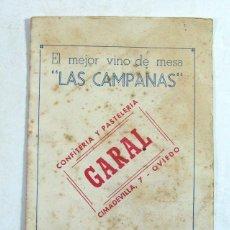 Documentos antiguos: OVIEDO. ASTURIAS. CONFITERIA PASTELERIA GARAL. LISTA DE PRECIOS EN LA BARRA. AÑOS 50 – 60. Lote 194526481